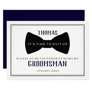 It's Time To Suit Up Groomsman - Black Tie Blue Invitations