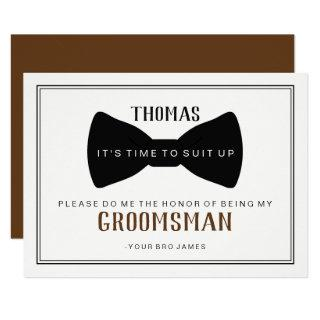 It's Time To Suit Up Groomsman - Black Tie Brown Invitations