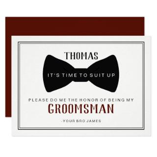 It's Time To Suit Up Groomsman - Black Tie Wine Invitations