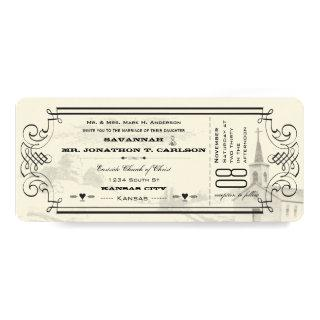 Ivory and Black Chapel Ticket Wedding Invitations