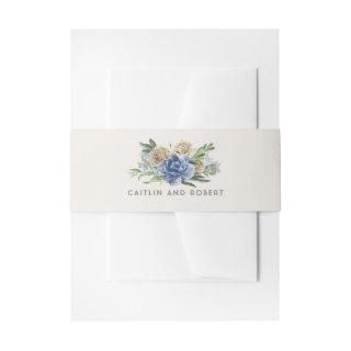 Ivory and Dusty Blue Floral Wedding Invitations Belly Band