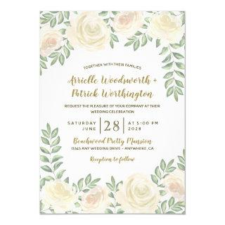 Ivory Blush Champagne Floral Wedding Invitations