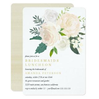 Ivory Bouquet Floral  Bridesmaids Luncheon Wedding Invitations