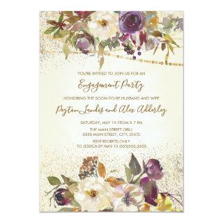 Ivory Cream Purple Floral Glitter Engagement Party Invitations