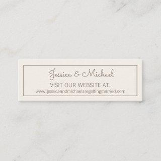 Ivory Cream White Wedding Website Mini Business Card