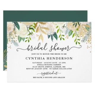 Ivory Greenery Gold Bloom Floral Bridal Shower Invitations
