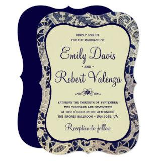 Ivory Lace Royal Navy Blue Modern Formal Wedding Invitations