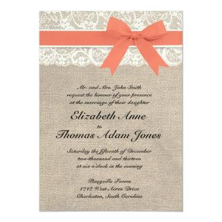 Ivory Lace Rustic Burlap Wedding Invitations- Coral Invitations