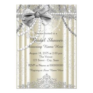 Ivory Pearl Bridal Shower Invitations
