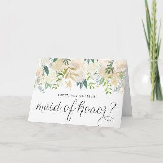 Ivory Peonies Glitter Will You Be My Maid of Honor Card
