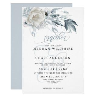 Ivory Peonies with Dusty Blue Anemone Floral Invitations