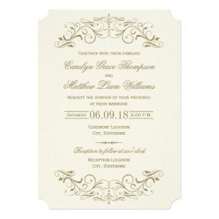 Ivory Wedding Invitations | Antique Gold Flourish
