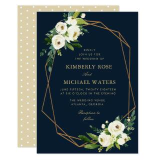 Ivory white floral geometrical navy wedding invitation