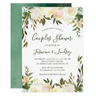 Ivory White Floral Greenery Wedding Couples Shower Invitation
