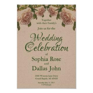 Ivory white pink peach roses Invitations