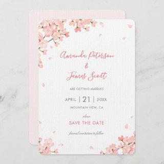Japanese Cherry Blossoms Save the Date Wedding