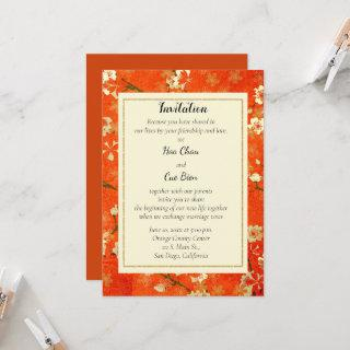 Japanese Red and Gold Floral Invitation Wedding