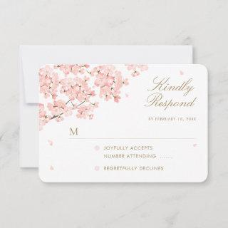 Japanese Sakura Cherry Blossoms Wedding RSVP Card