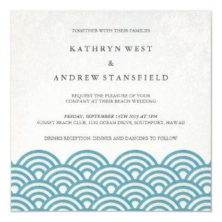 Japanese Seigaiha Waves Elegant Beach Wedding Invitations