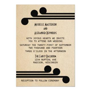 Jet Black Deco Chic Wedding Invite