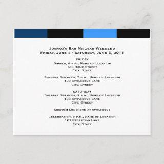 Joshua Isaac Bar Mitzvah Weekend Schedule Card
