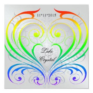 Jubilee Rainbow Heart Wedding Invitations