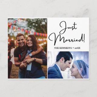 Just Married  2 Photo Collage Wedding Announcement Postcard