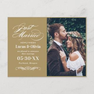 Just Married Antique Gold Wedding Photo Announcement Postcard