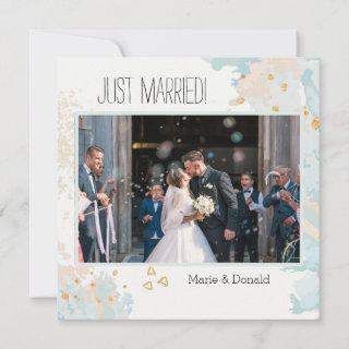 Just Married Blue Coral Abstract Marble Gold Holiday Card