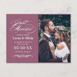 Just Married Cassis Elegant Wedding Photo Announcement Postcard