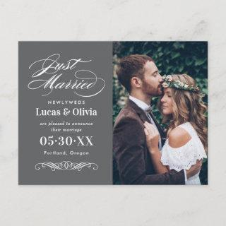 Just Married Charcoal Gray Elegant Wedding Photo Announcement Postcard