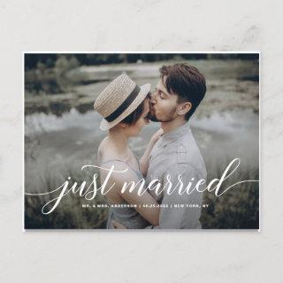 Just Married Cursive Script Overlay White Photo Announcement Postcard