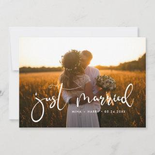 Just married Elegant romantic wedding photo card