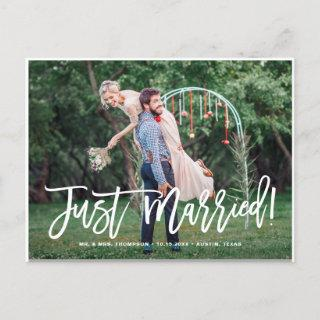 Just Married Hand Lettered Photo Wedding Announcement Postcard