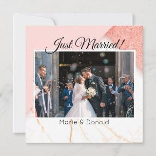 Just Married Modern Pink and Gold Glitter Marble Holiday Card