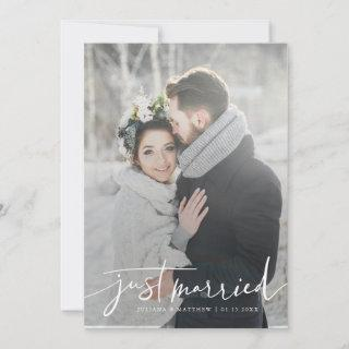 Just Married Modern Script Wedding Multi Photo Announcement