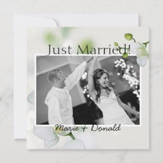Just Married Soft Elegant Orchid Announcement