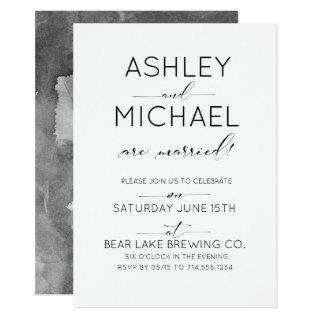 Just Married Typography Wedding Party Invitations
