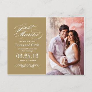 Just Married Wedding Announcements | Antique Gold