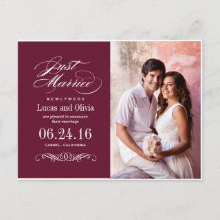 Just Married Wedding Announcements | Bordeaux Red