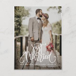 Just Married White Lettering Overlay Photo Announcement Postcard
