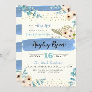 Kentucky Derby Big Hat Eucalyptus Bridal Shower Invitations