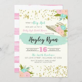 Kentucky Derby Big Hat Pink & Mint Bridal Shower Invitations