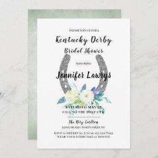 Kentucky Derby Floral Horseshoe Bridal Shower Invitation