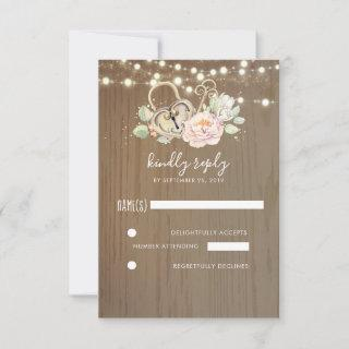 Key and Love Lock Wedding RSVP