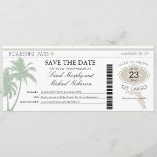 Key Largo Florida Save the Date Boarding Pass