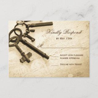 Key to Her Heart Vintage Wedding RSVP Cards