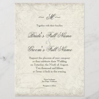 Key to my Heart, Doves Swirl Weddings Invite