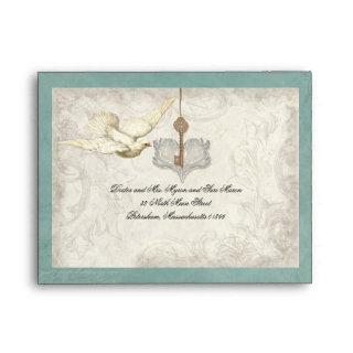 Key to my Heart, Doves Wedding Invitations Envelope