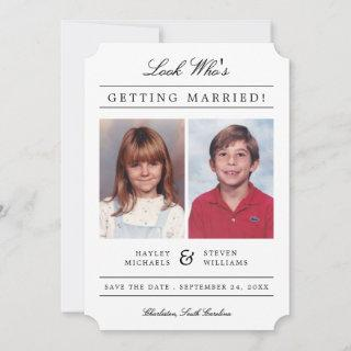 Kid Photos Old School Classic Styled   White Save The Date